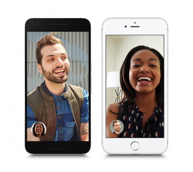구글이 선보인 영상통화 앱 듀오. 서로 다른 OS를 쓰는 스마트폰 간에도 영상 통화가 가능하다.  - 구글 제공